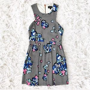 Topshop floral And houndstooth dress
